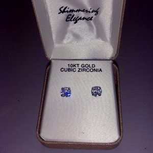White Gold CZ Stud Earrings